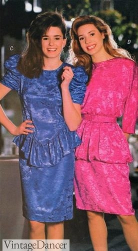 1980s fashion dress styles, 1988 peplum party dresses 80s party dresses fun for teens