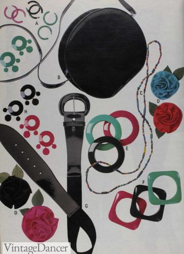 1989 plastic belts, hoop earrings and T-Shirt sliders