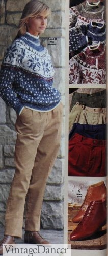 1990 fair isle sweater with corduroy pants and lace up booties