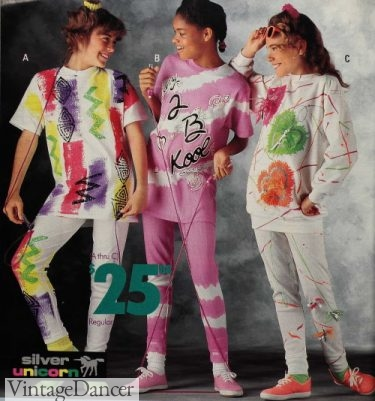 1990 splatter and sponge paint clothes with neon colors were VERY cool. They had shops where kids could paint their own (All my friends had birthday parties there.)