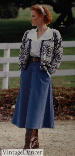 1991 denim skirt with cozy cardigan sweater, tall boots for winter