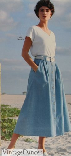 1990s skirt outfit 1992 denim button down skirt, white woven belt and white knit shirt