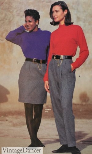 1992 dress pants or pencil skirt with simple knit tops