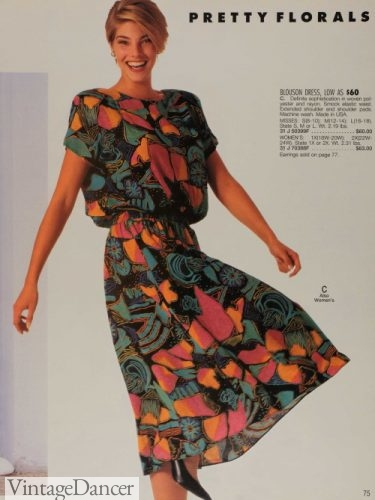 90s casual dress padded shoulders