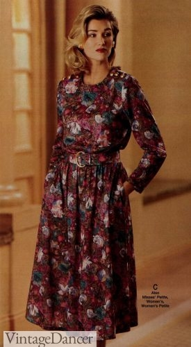 1990 mature womens Mrs floral tapestry dress