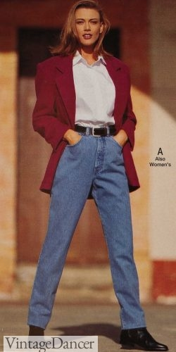 90s outfit - 1992 blazer over T-shirt and belted jeans with boots
