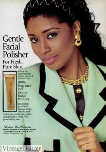 1993 black makeup, her pearl pink lipstick is very 90s