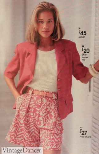 1990s pink outfit - 1993 pink blazer, white shirt, pink floral shorts
