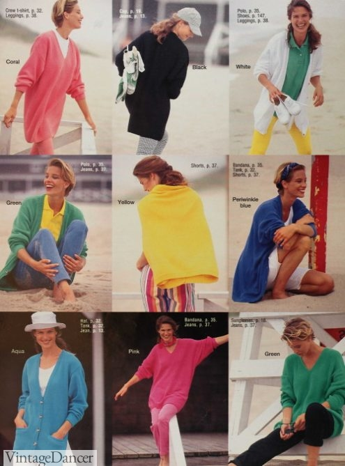 1992 casual outfits summer knitwear primary colors