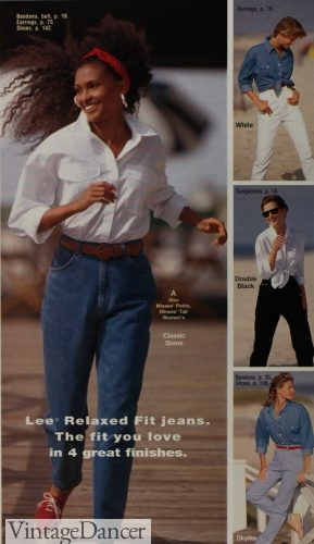 90s outfit 1993 blue jeans with white button own shirt