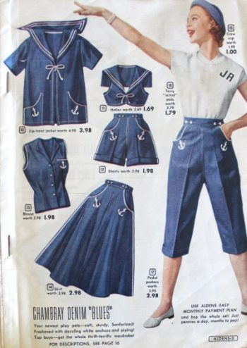 1950s matching summer sialor inspired clothes. Shorts, skirts, middy tops.