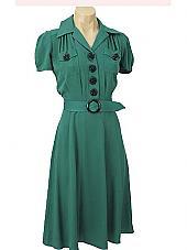 1940s style blue velvet dress