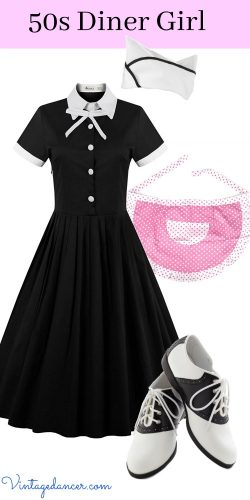 50s Diner Girl / Car Hop/ Waitress Outfit Costume