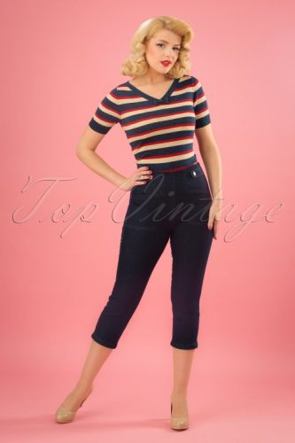 50s Casual outfit -capri jeans and knit top