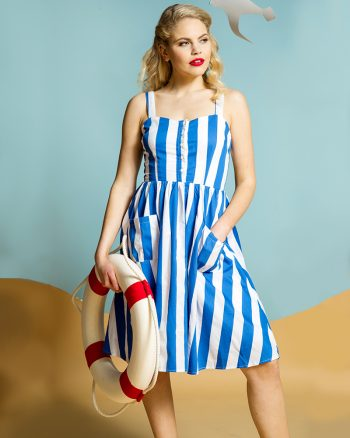 1950s summer dress in candy stripes blue and white