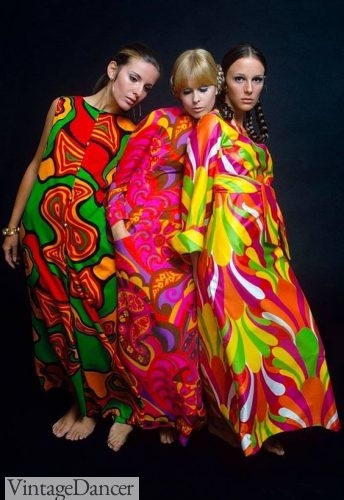 1960s psychedelic print hostess dresses