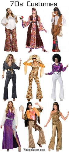 70s costumes Women's hippie disco Halloween party ideas at VintageDancer.com