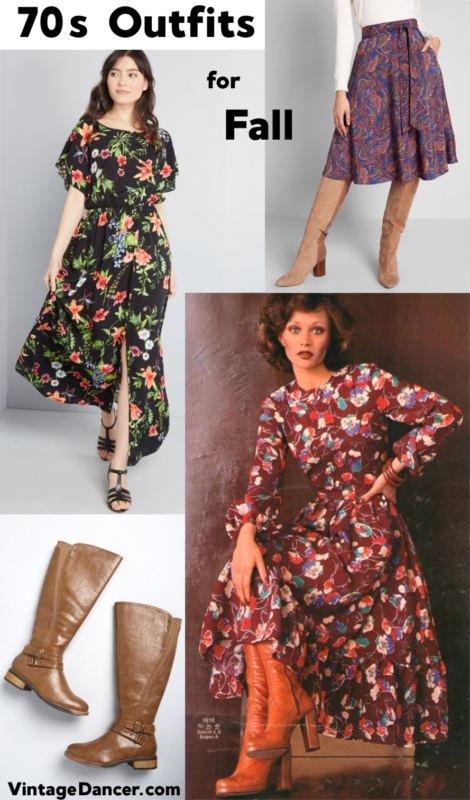 70s Dresses Fall Autumn Outfit Ideas at Vintage Dancer