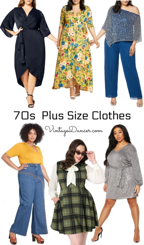 70s plus size clothes- disco dresses, hippie maxi dresses, bell bottoms, short dresses