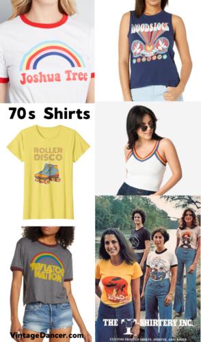 70s Shirts, T-shirts, Ringer Tees and Retro Shirts women at VintageDancer