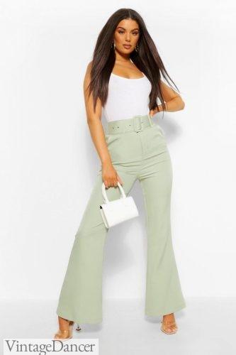 Shop 70s pants trousers wide leg high waist high rise with belt