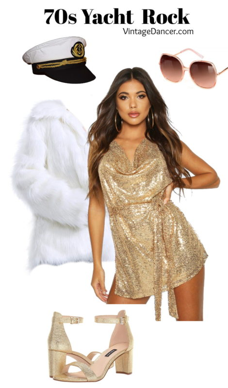 70s yacht rock outfit sequin romper disco gold at vintagedancer