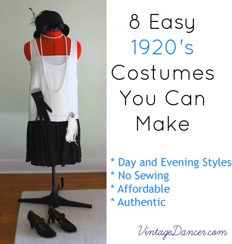 10 easy 1920s costumes you can make. DIY a flapper dress, gangster outfit, casual clothes and day or evening gown with clothes you already own.