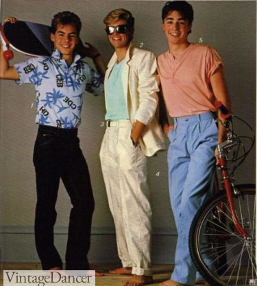 80s guys outfits, pleated cotton pants casual shirts at VintageDancer