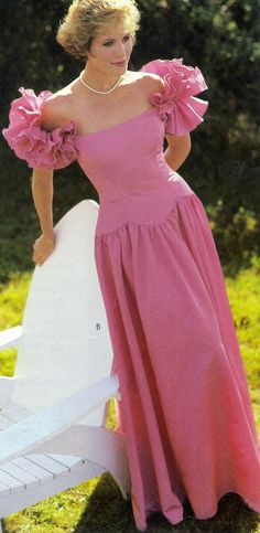 1980s Puff sleeve pink Victorian prom dress