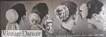 1950s long hairstyle accessory - 1957 Chignon caps