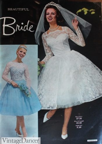 1964 lace knee length swing wedding dress