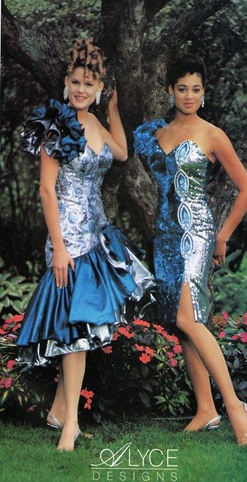 1980s Alyce Sequin prom or party dresses