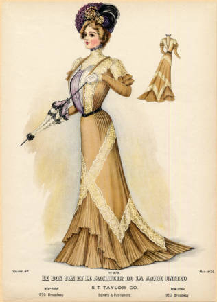 1899 flared long skirt dress fashion plate