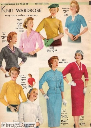 1957 winter knit tops, sweaters and dresses