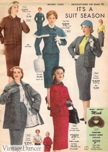 1957 ladies winter suits, skirts and jackets