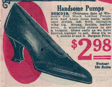 1921 pump, french heel shoes 20s women at VintageDancer