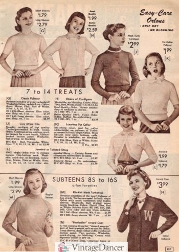 1957 teen pullover sweater tops