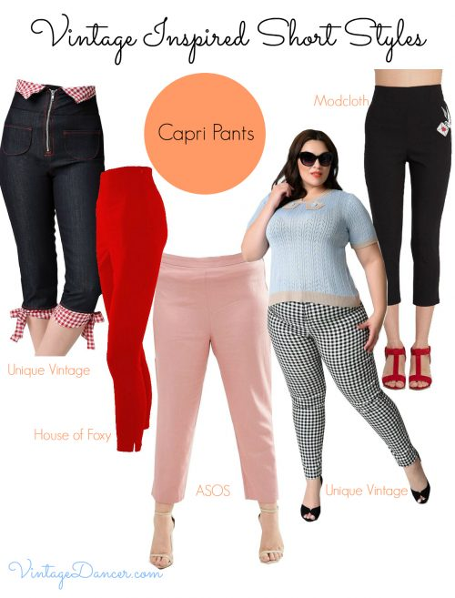 Evoke a timeless style with a pair of vintage style Capri pants.