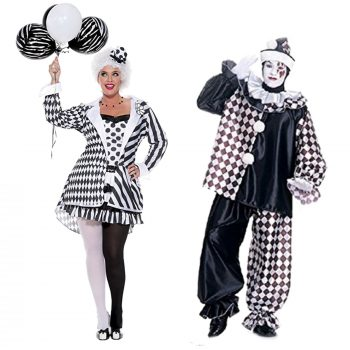 Vintage clown costumes - Harlequin Halloween costumes