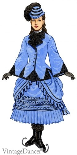 1871 Victorian girls blue skating outfit