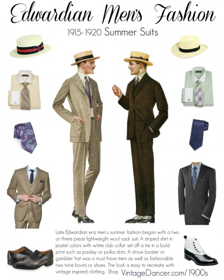 Edwardian mens clothing guide, 1900-1924 at VintageDancer.com/1900s