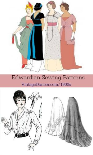 Find 1900-1919 Edwardian Era Sewing patterns at VintageDancer.com/1900s