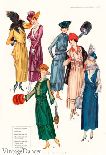 February 1918 spring fashions in brighter colors