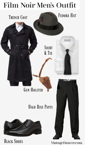 1940s film noir 1930s men's private eye detective outfit idea costume at VintageDancer