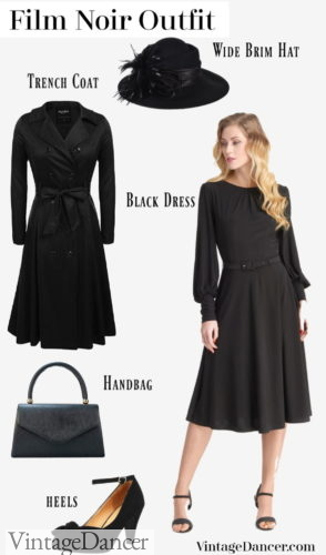 Film Noir costume outfit idea- All black vintage dress, shoes, hat, handbag and trench coat. See more ideas at VintageDancer