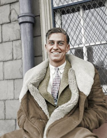 Franklin D. Roosevelt Jr, in a shearling coat., Colorized by AHumblePear