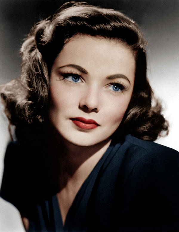 Beautiful 1940s makeup on Gene Tierney . Click to learn how to create this look.