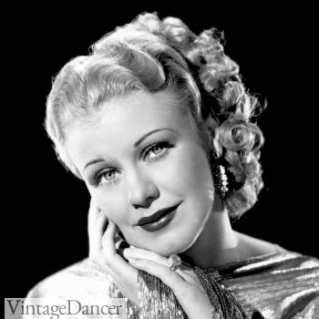 Ginger Rogers right curls pinned up