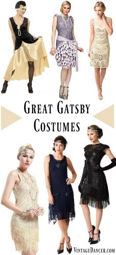 Great Gatsby costumes, Gatsby costumes & Gatsby Dresses for women inspired by Daisy. Roaring 20s women's costumes from cheap to luxury. Find them at VintageDancer