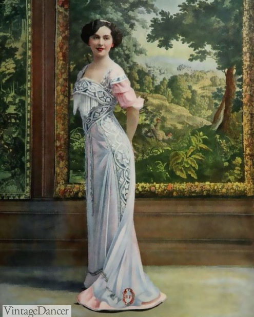 1909 Helene Dutrieu, pale blue and pink, Edwardian formal evening dress by Bernard at VintageDancer
